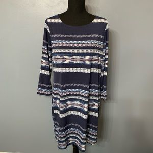 BCBGMaxAzria Blue Striped Dress Size Medium
